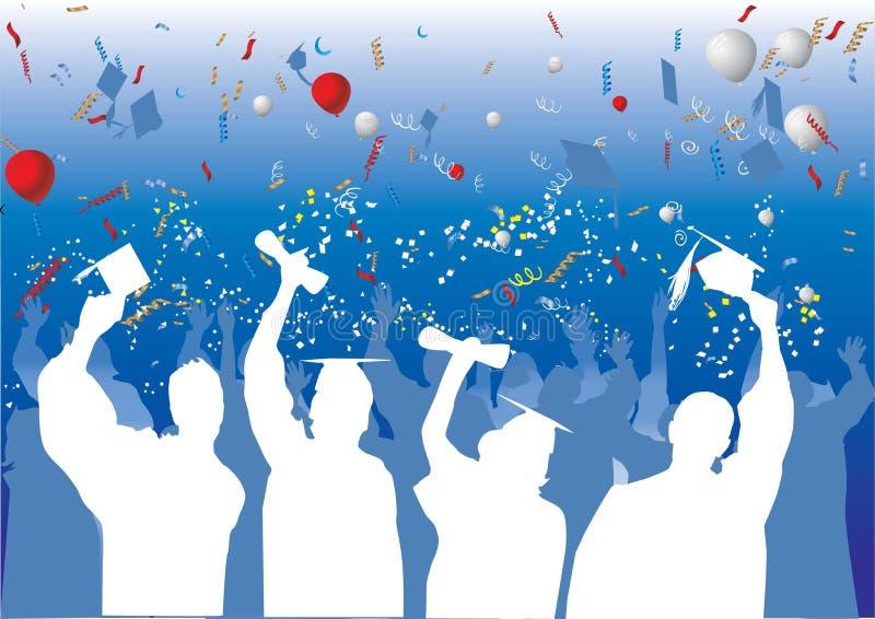 Celebrazione di graduazione in siluetta illustrazione di stock