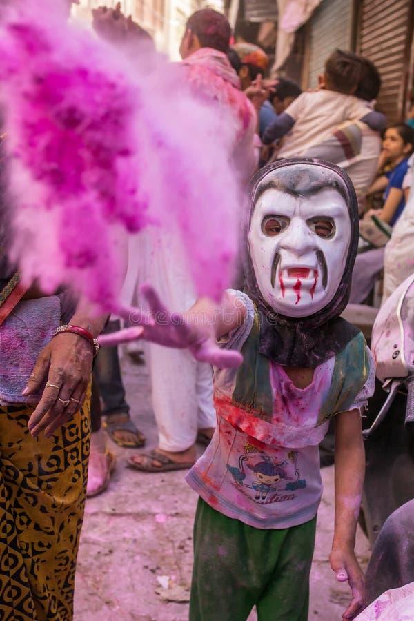 Celebrazione di Holi, Vrindavan e Mathura, India fotografie stock libere da diritti