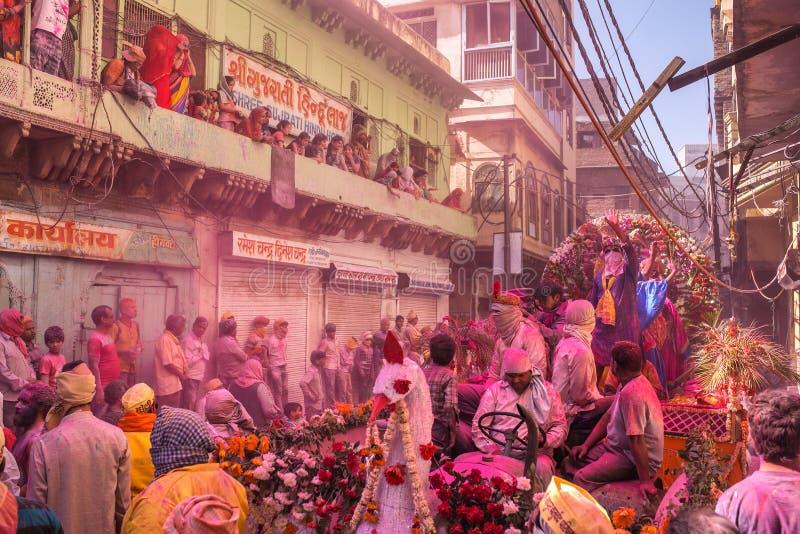 Celebrazione di Holi, Vrindavan e Mathura, India immagini stock libere da diritti