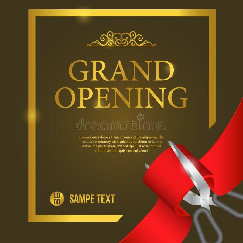 Celebrazione di lusso del partito di grande apertura con il nastro rosso di taglio royalty illustrazione gratis