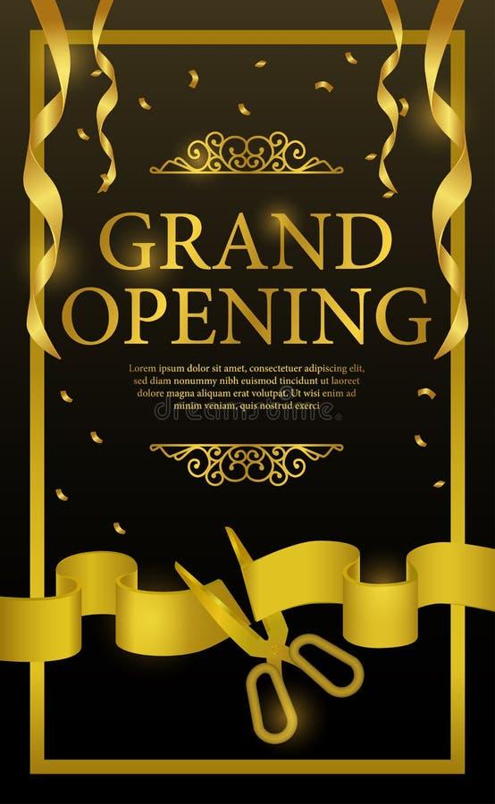 Celebrazione di lusso del partito del nastro dell'oro di taglio di grande apertura illustrazione di stock