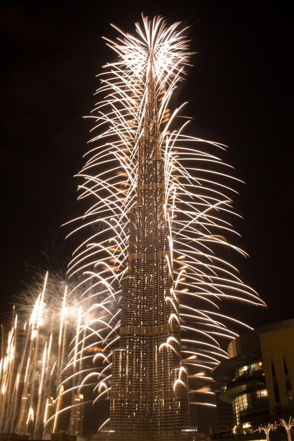 Celebrazione di nuovo anno in Doubai fotografie stock libere da diritti