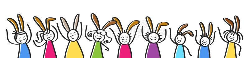 Celebrazione di Pasqua, fila di incoraggiare la gente variopinta con le orecchie del coniglietto, insegna orizzontale del bastone illustrazione di stock