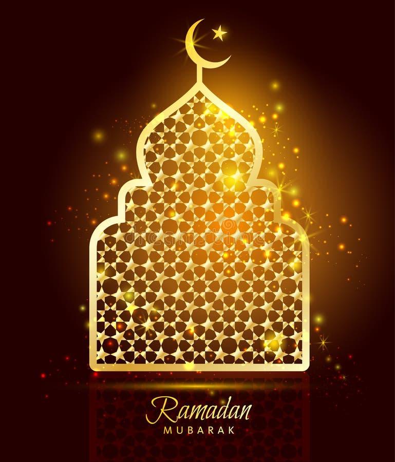Celebrazione di Ramadan Kareem con la moschea dell'oro illustrazione vettoriale