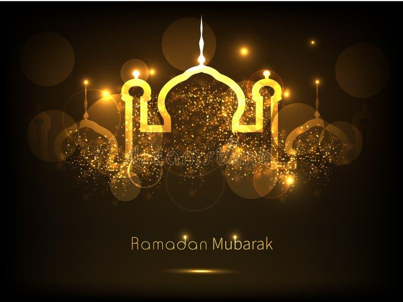 Celebrazione di Ramadan Kareem con la moschea dorata royalty illustrazione gratis