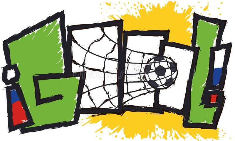Celebrazione di scopo nello Spagnolo con pallone da calcio nella rete, illustrazione di vettore royalty illustrazione gratis