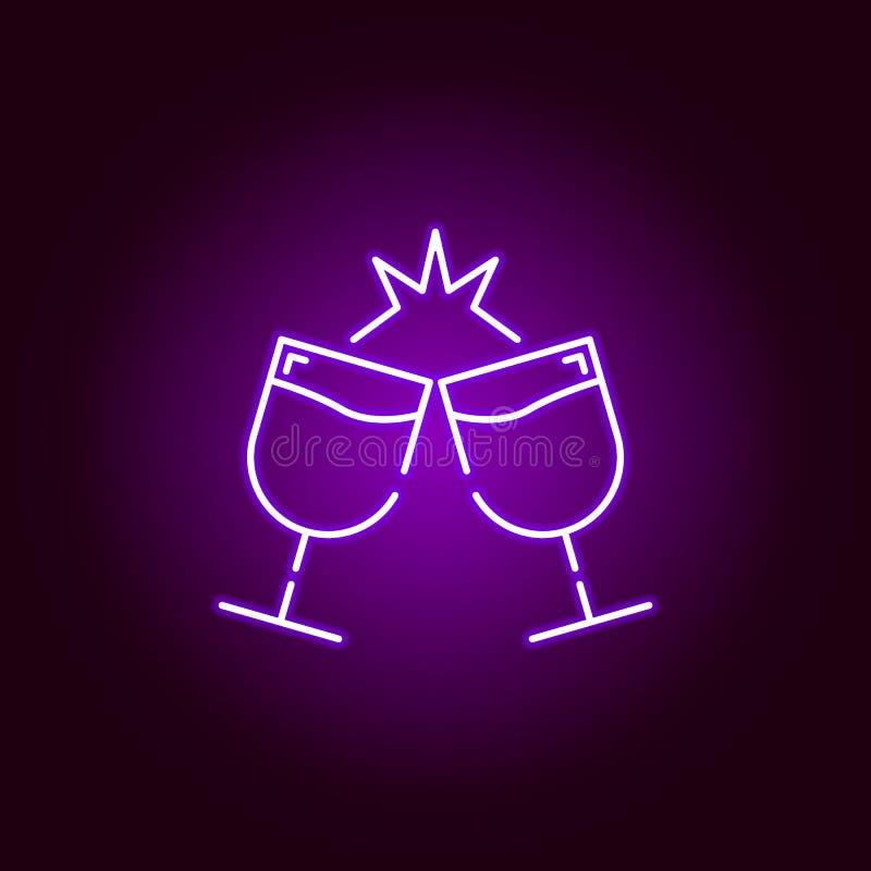 celebrazione di un'icona di vetro nello stile al neon Elemento dell'illustrazione di Halloween Segni ed icona per i siti Web, web royalty illustrazione gratis