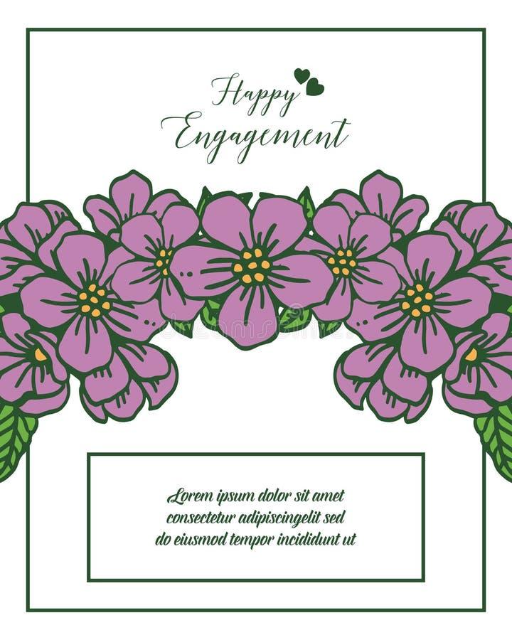 Celebrazione felice di impegno dell'illustrazione di vettore con stile floreale della struttura royalty illustrazione gratis