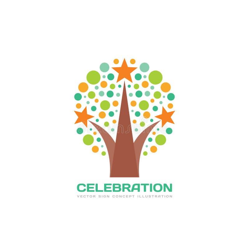 Celebrazione - illustrazione di concetto del modello di logo di vettore nello stile piano royalty illustrazione gratis