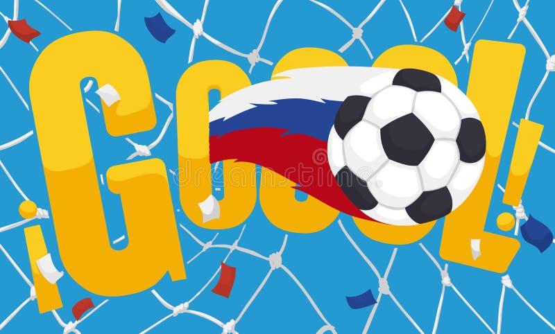Celebrazione spagnola per lo scopo che segna con il pallone da calcio ed i coriandoli, illustrazione di vettore royalty illustrazione gratis