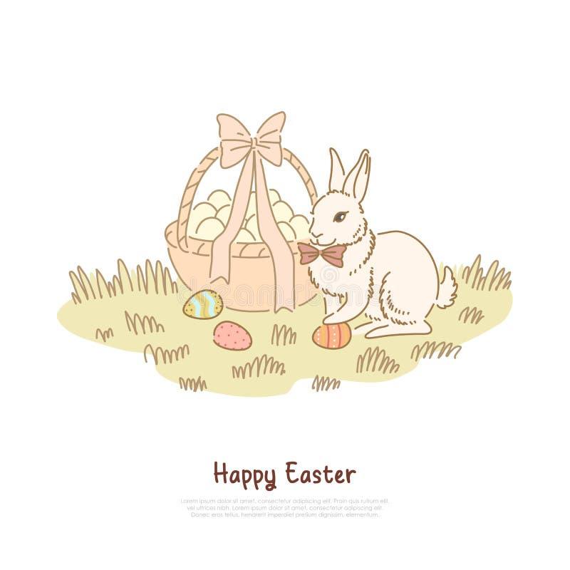 Celebrazione tradizionale di festa della molla, coniglio pasquale lanuginoso con la cravatta a farfalla, uova decorate cercante i royalty illustrazione gratis