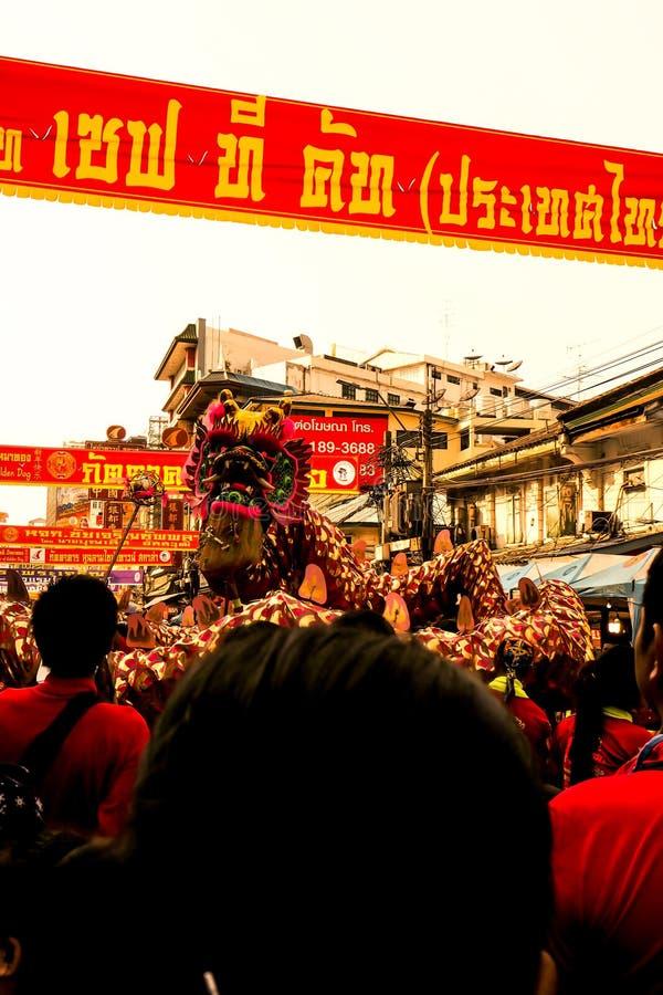 Celebrazioni cinesi del nuovo anno, parata cinese di anno di Bangkok Tailandia 2018 Lion Dragon Dance Chinese Lunar New immagine stock libera da diritti