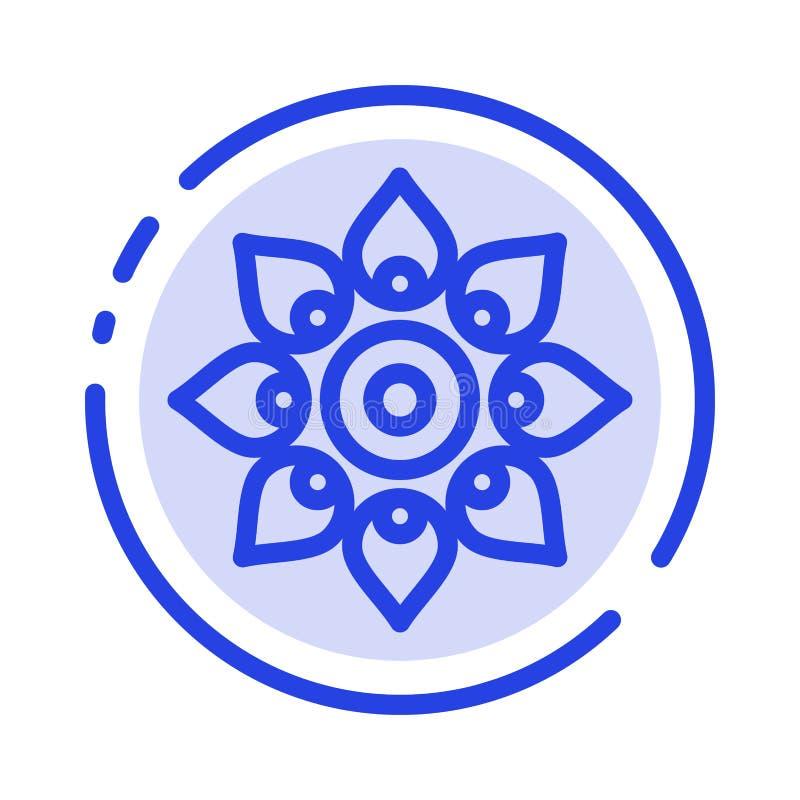Celebre, adorne, decoración, Diwali, hindú, línea de puntos azul línea icono de Holi ilustración del vector