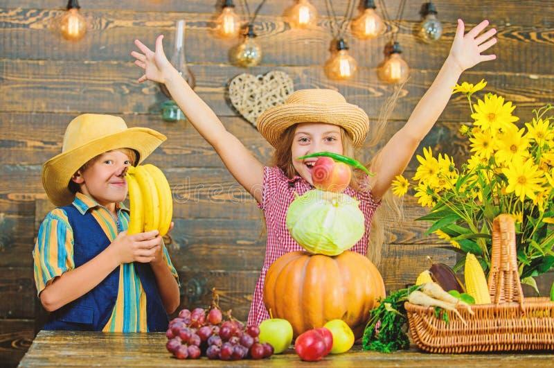 Celebre el d?a de fiesta de la cosecha Los ni?os juegan el fondo de madera de las verduras Idea del festival de la ca?da de la es fotografía de archivo libre de regalías