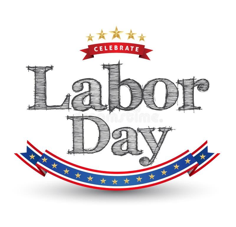 Celebre la tarjeta del Día del Trabajo ilustración del vector