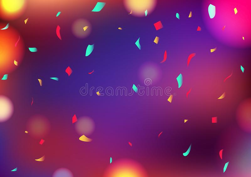 Celebri i coriandoli astratti variopinti confusi che cadono, vettore della decorazione del fondo di Bokeh del partito di concetto royalty illustrazione gratis