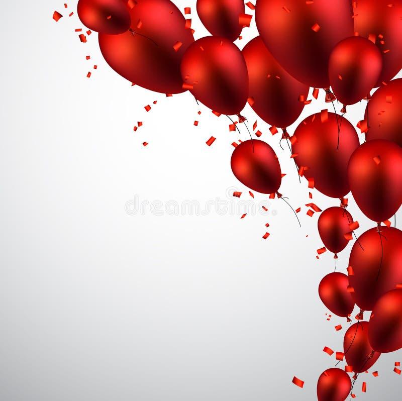 Celebri il fondo con i palloni rossi royalty illustrazione gratis
