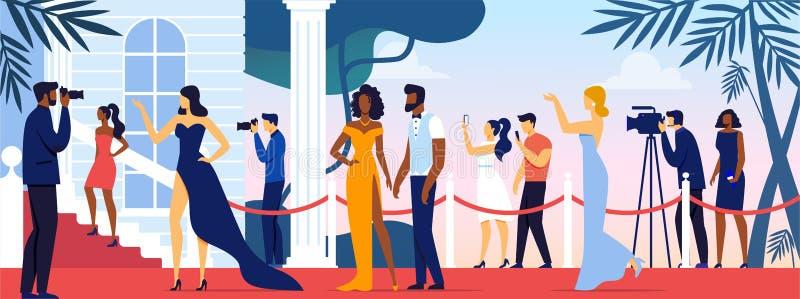 Celebridades caminhando ao longo do tapete vermelho, estrelas ilustração royalty free