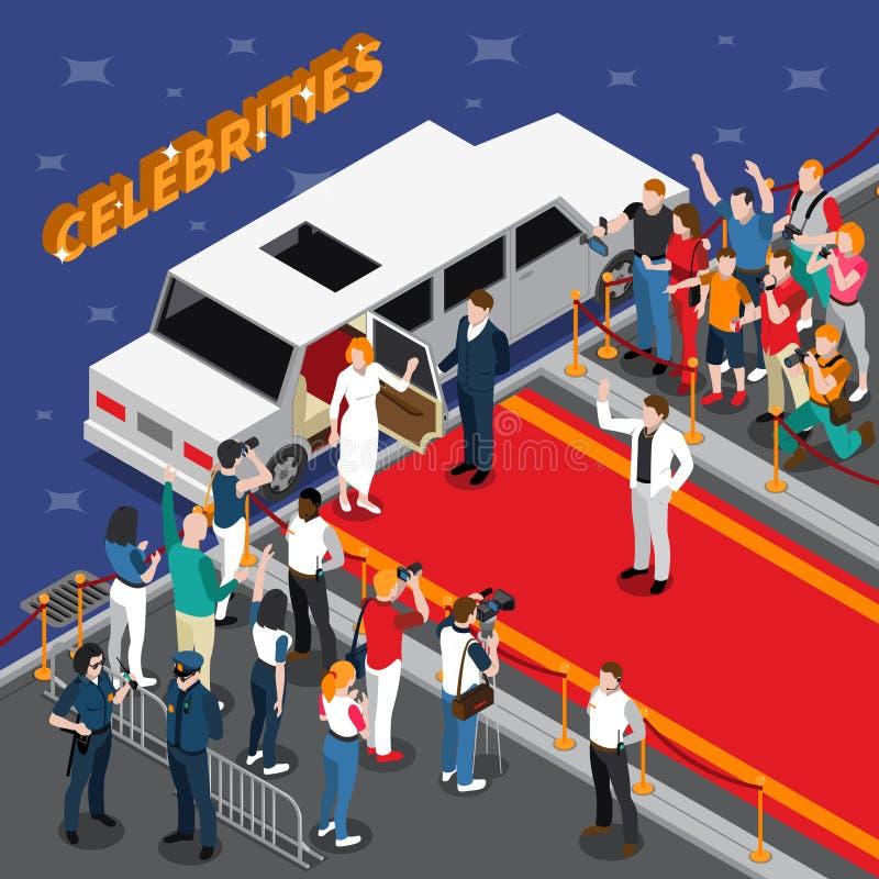 Celebridades en la composición isométrica de la alfombra roja ilustración del vector