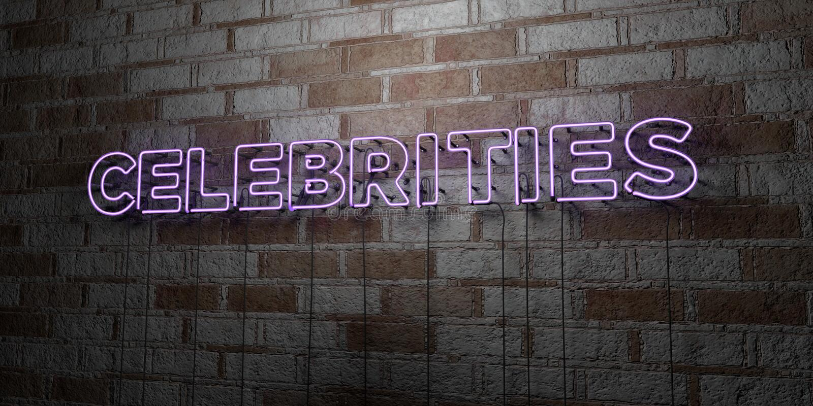 CELEBRITIES - Glowing Neon Sign on stonework wall - 3D rendered royalty free stock illustration. Can be used for online banner ads and direct mailers royalty free illustration