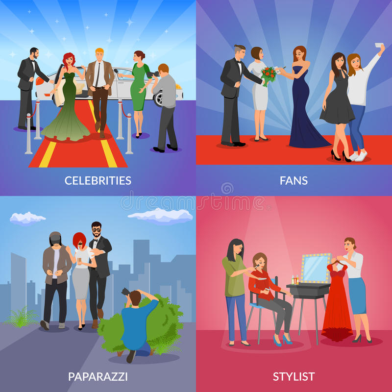 Celebrity 2x2 Design Concept. Set of paparazzi stylists fans and vip persons flat vector illustration vector illustration