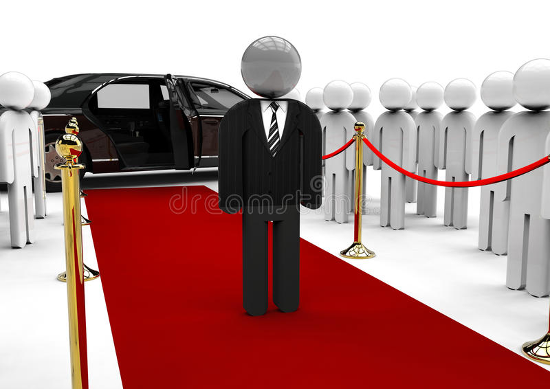 Celebrity dummy. 3D render image representing a celebrity dummy with a limousine and fans royalty free illustration