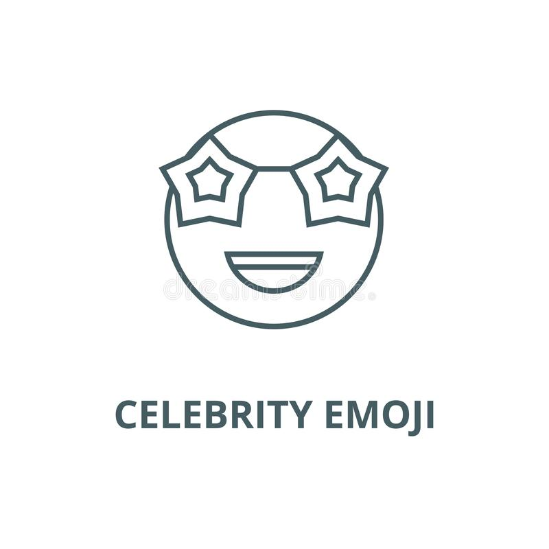 Celebrity emoji line icon, vector. Celebrity emoji outline sign, concept symbol, flat illustration. Celebrity emoji line icon, vector. Celebrity emoji outline royalty free illustration