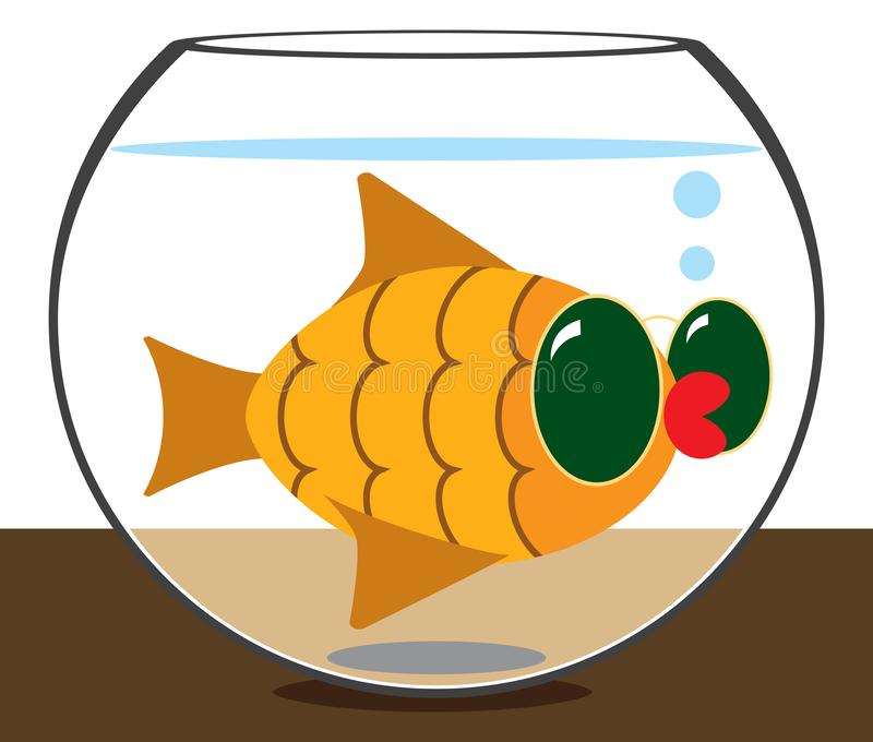 Celebrity Goldfish in Bowl. A goldfish with red lips and sun glasses is enjoying fame in her bowl stock illustration