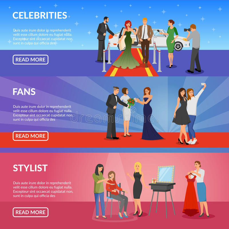Celebrity Horizontal Banners vector illustration