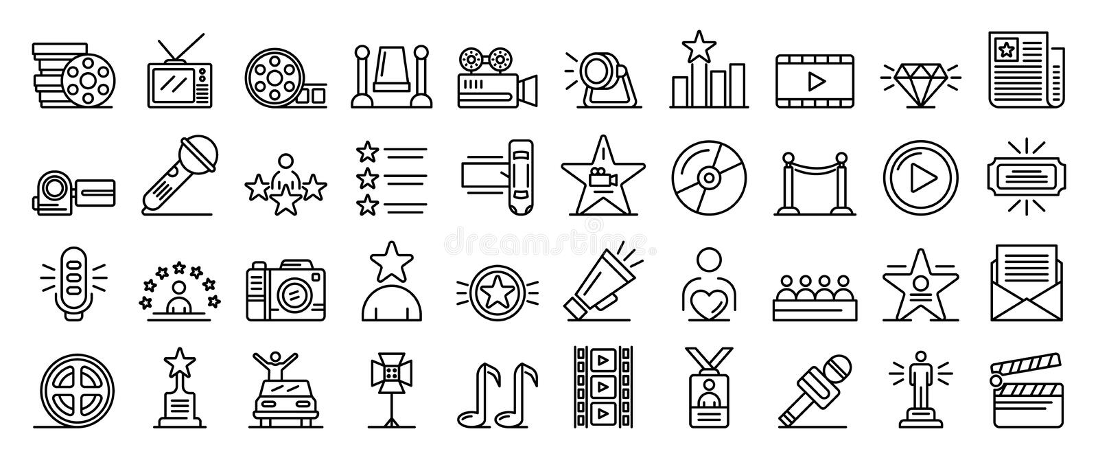 Celebrity icons set, outline style stock illustration