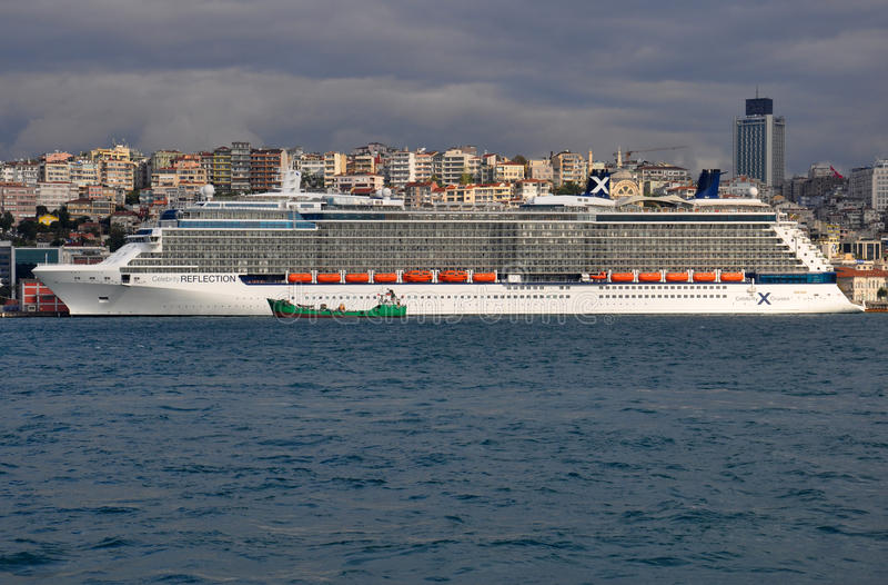 Celebrity Reflection. Cruise ship docked in Istanbul, Turkey royalty free stock image