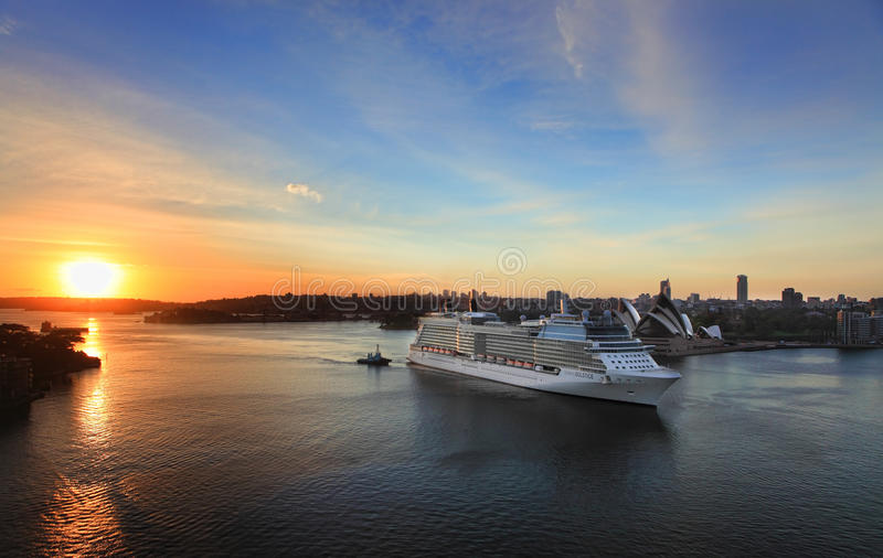 Celebrity Solstice arriving in Sydney, Australia at Dawn. SYDNEY, AUSTRALIA - NOVEMBER 28, 2013: Celebrity Solstice, one of Australia's highest rated superliners stock photos