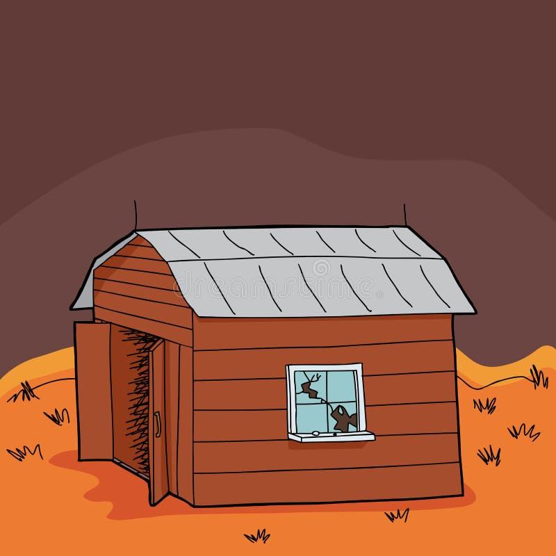 Celeiro abandonado na seca ilustração stock