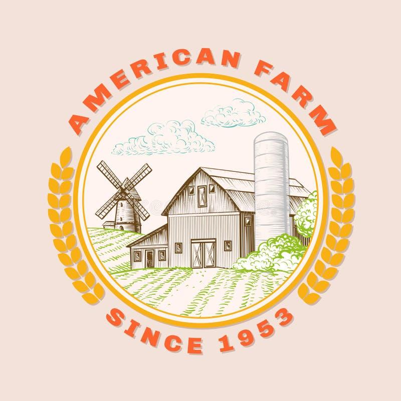 Celeiro americano da exploração agrícola para a agricultura com moinho de vento, logotipo ilustração royalty free