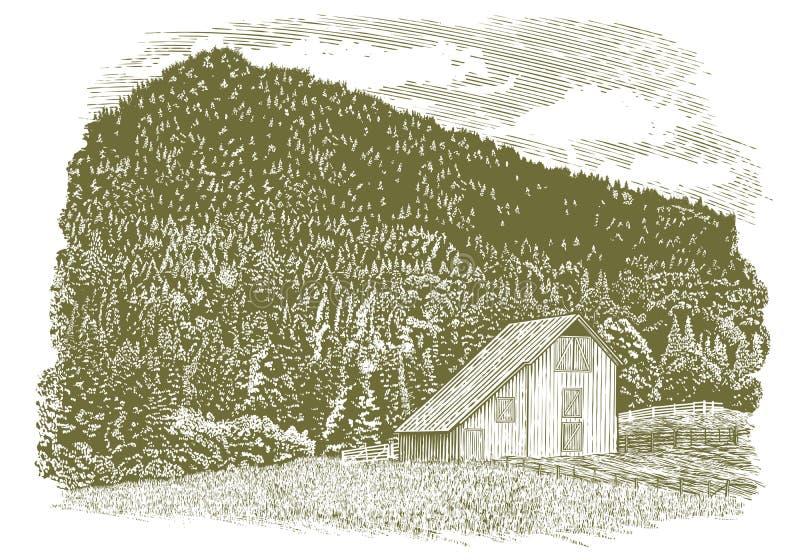 Celeiro de Idaho do bloco xilográfico ilustração royalty free