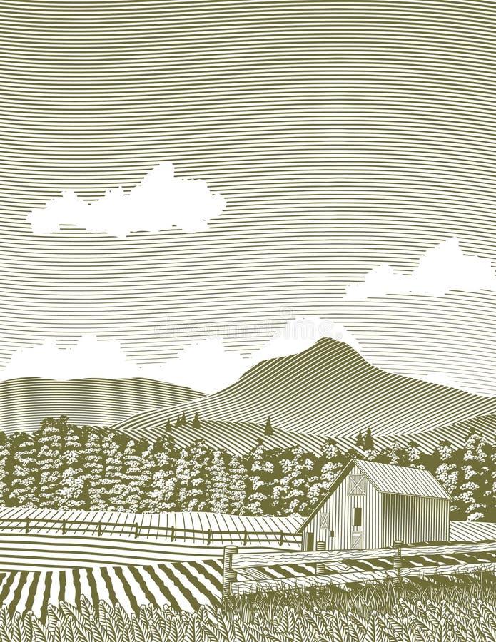 Celeiro de Idaho do Woodcut ilustração royalty free