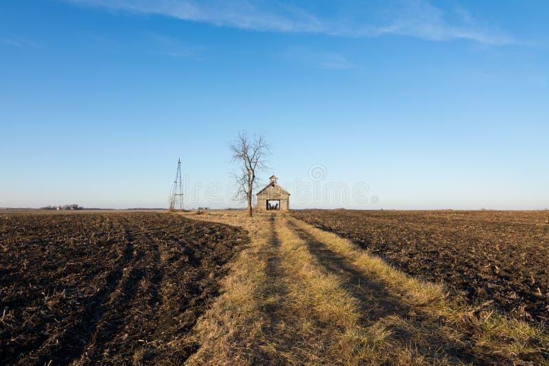 Celeiro de madeira isolado em Illinois rural, EUA imagens de stock royalty free