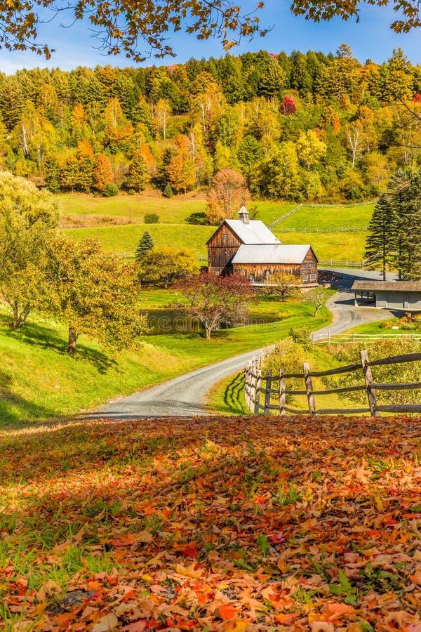 Celeiro de madeira na paisagem da folhagem de outono no campo de Vermont imagem de stock
