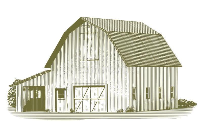 Celeiro de vaca gravado ilustração do vetor