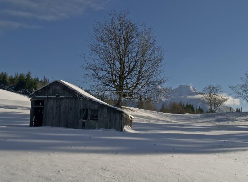 Celeiro e pasto rurais no inverno imagem de stock royalty free