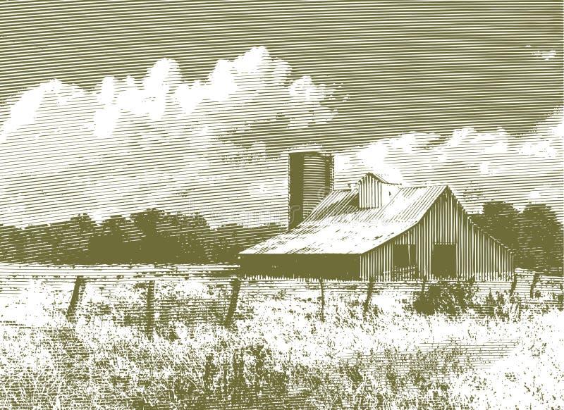 Celeiro e silo vermelhos gravados ilustração do vetor