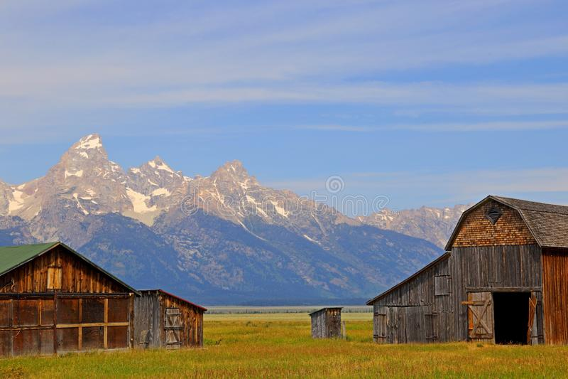 Celeiro na fileira do mórmon no parque nacional grande de Teton fotografia de stock royalty free