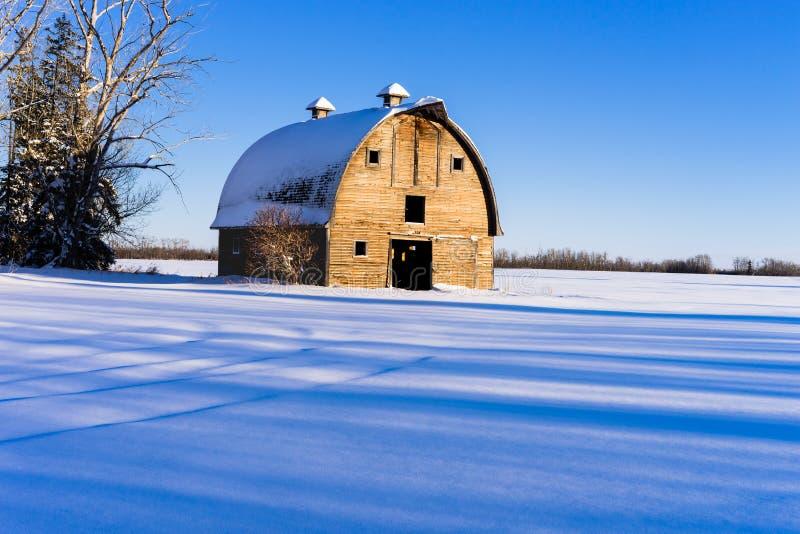 Celeiro no inverno, Alberta rural da exploração agrícola imagem de stock royalty free