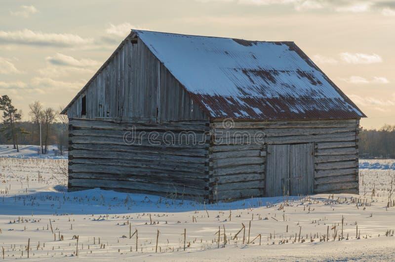 Celeiro pioneiro da cabana rústica de madeira em Ontário oriental no inverno imagem de stock royalty free