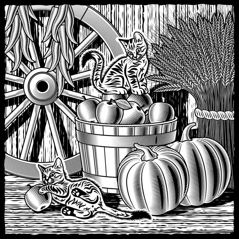 Celeiro retro com a colheita preto e branco ilustração do vetor
