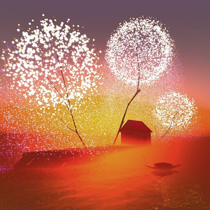 Celeiro sob árvores mágicas ilustração do vetor