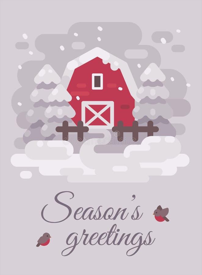 Celeiro vermelho com árvores em uma paisagem do país do inverno Ilustração lisa do cartão do Natal Cumprimentos das estações ilustração stock