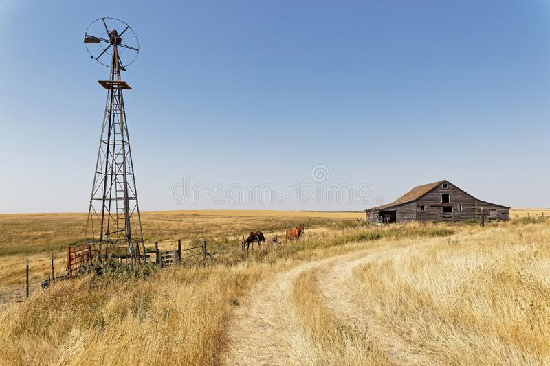 Celeiros, estábulos e moinho de vento de madeira no campo de North Dakota foto de stock