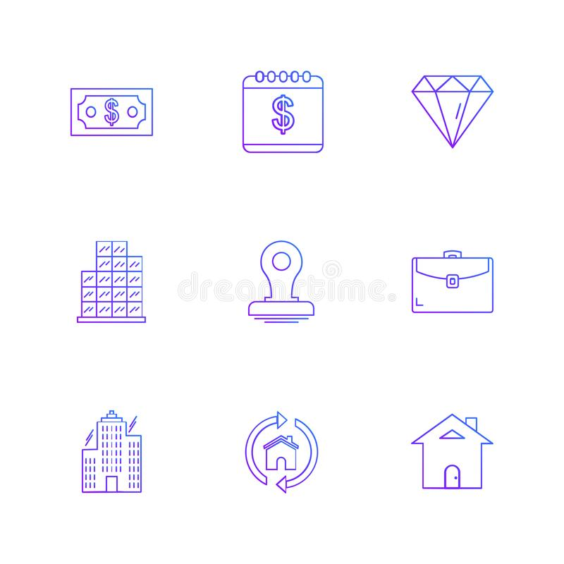 celender , dollar, target, watch , graph , mouse , eps icons se stock illustration