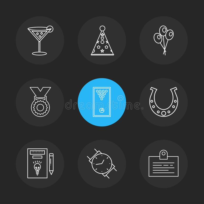 celender , dollar, target, watch , graph , mouse , eps icons se royalty free illustration